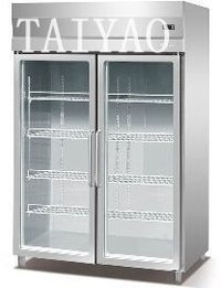 2 glass door display freezer