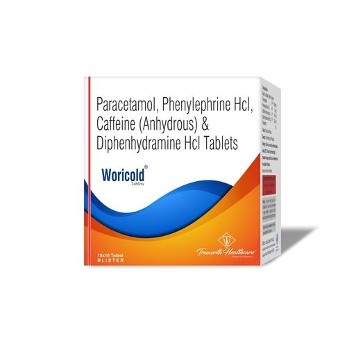 Truworth Woricold Tab ( Paracetamol + Phenylephrine + Caffeine + Diphenhydramine Tablets)