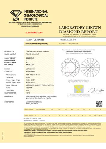 CVD Diamond 0.36ct I SI1 Round Brilliant Cut IGI Certified Stone