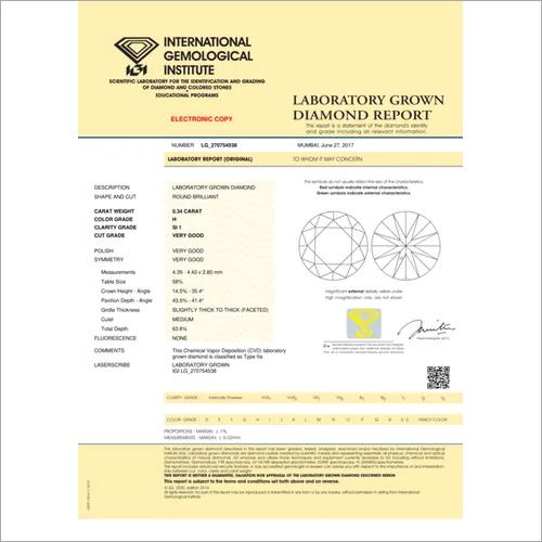 CVD Diamond 0.34ct H SI1 Round Brilliant Cut IGI Certified Stone