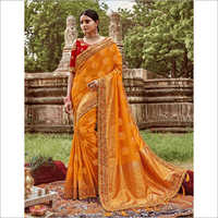 Embroidered Border Silk Saree