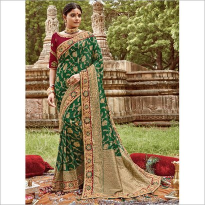Avaiable In Different Color Ladies Heavy Embroidered Bridal Saree