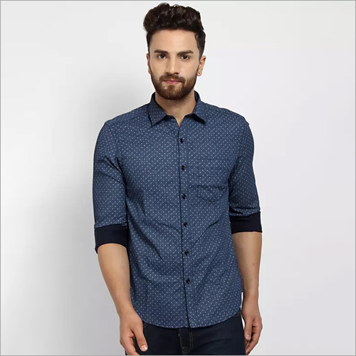 Mens Blue Printed Casual Shirt