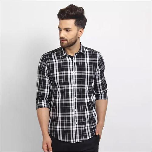 Mens Black Checked Casual Shirt