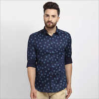 Cape Canary Blue Casual Printed Shirt