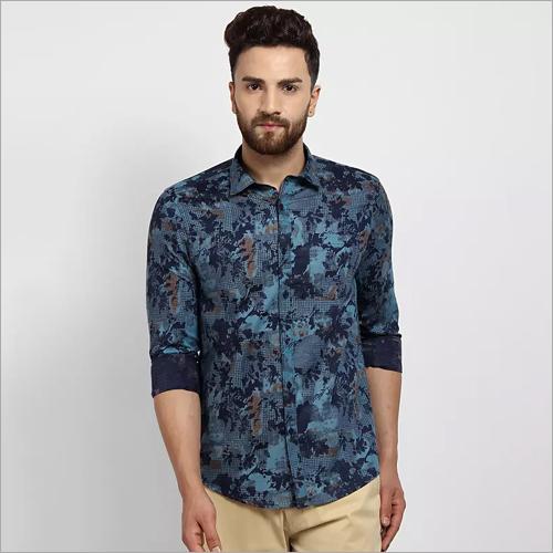 Cape Canary Blue Casual Printed Shirt