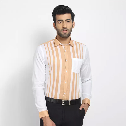 Mens Stripes Straight Formal Shirt