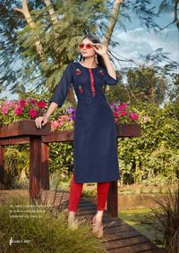 Heavy Premium Cotton With Embroidery Work Kurti