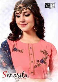 Rayon With  Embroidery Work 3 Pics Kurti