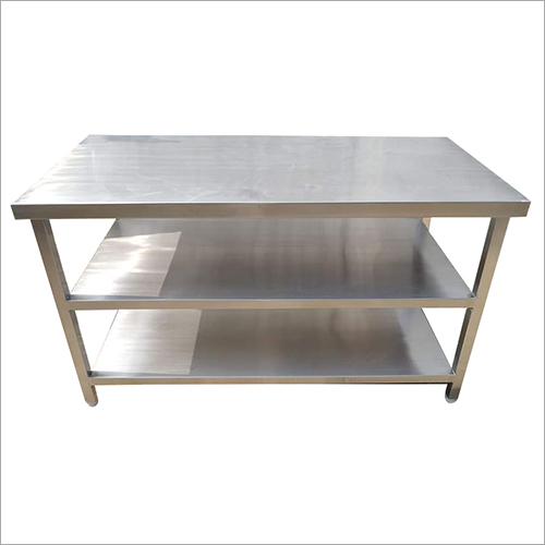 Kitchen SS Table With Shelf