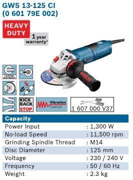 1300 Watt 5 Inch Angle Grinder