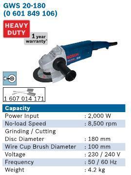 2000 Watt 7 Inch Angle Grinder