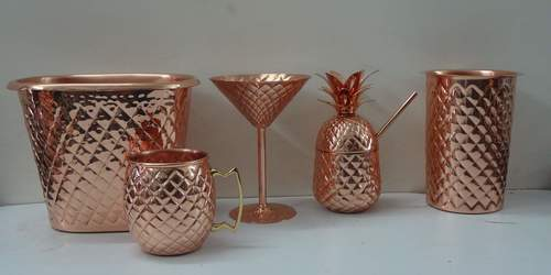 Copper wine Bottle Holder with Pineapple Embossing