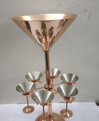 Solid Copper Martini Bottle Holder with Martini Glasses