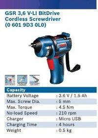 3.6 V Li-Lon Bit Drive Cordless Screwdriver