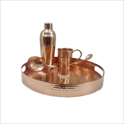 Copper Bar Set with with Tray, Shaker, Mug, Jigger, Spoon and Strainer
