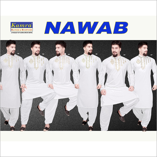 Mens Neck Embroidered Kurta Fabric