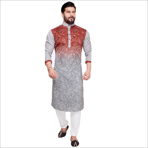 Mens Party Wear Printed Kurta Fabric