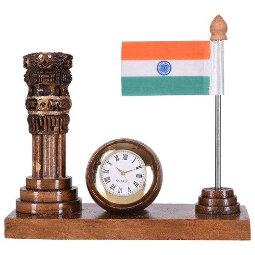 Wooden Pan Holder Ashoka and Flag