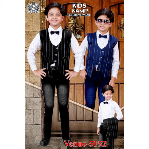 Boys Waist Coat With Jeans Set