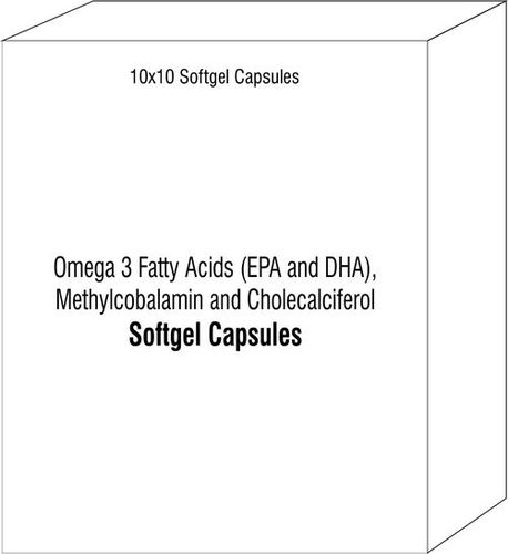 Softgel Capsules of Omega 3 Fatty Acids (EPA and DHA) Methylcobalamin and Cholecalciferol