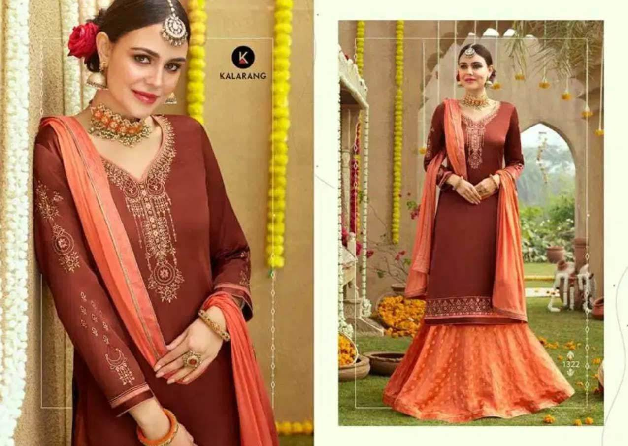 Modal Satin Silk with Heavy Embroidery Work and Sleeve Work