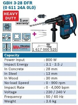 800 Watt 3 KG Rotary Hammer