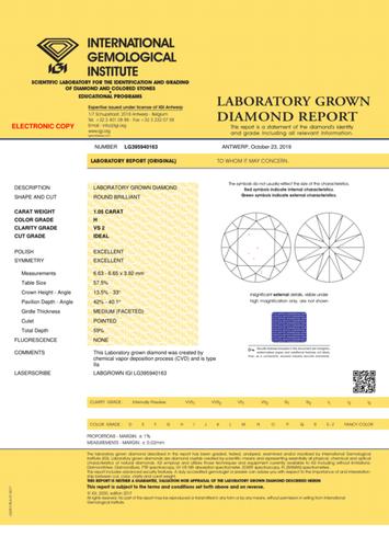 CVD Diamond 1.05ct H VS2 Round Brilliant Cut IGI Certified Stone