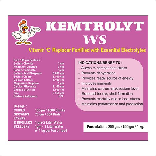 Vitamin C Replacer Fortified With Essential Electrolytes For Poultry