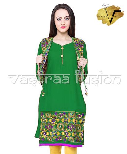 Ladies Embroidery Work With Matching Jacket Kurti
