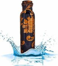 Pure Copper Printed Water Bottle | Designer Copper Bottle 1 Litre, Leak Proof, Jointless, Seamless|Capacity-1000 ml|