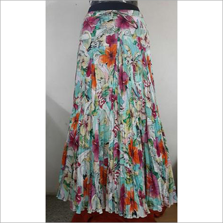 Cotton Printed & Yarn Dyed Crinkle Skirt