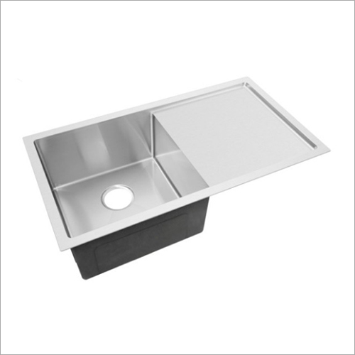 Matt Finish Stainless Steel Sink Single Bowl With Drain Board