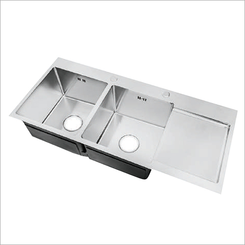 Matte Finish Stainless Steel Sink Double Bowl With Drain Board