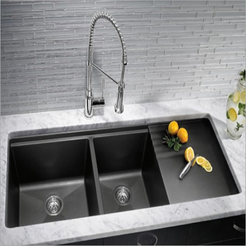 Coloured Matt Nano Technology Stainless Steel Double Bowl Sink With Drain Board