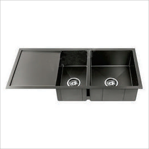 Black Matt Finish Sink With Drain Board