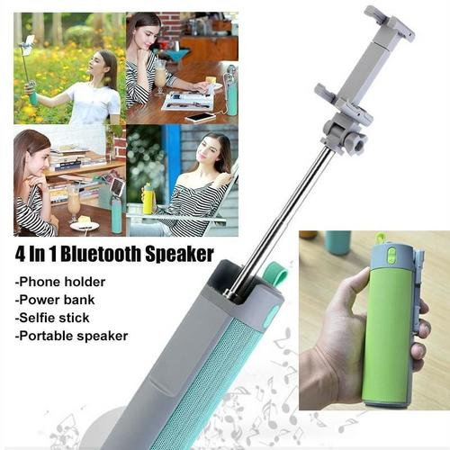290_4 In 1 Selfie Stick with Bluetooth Speaker & Power Bank