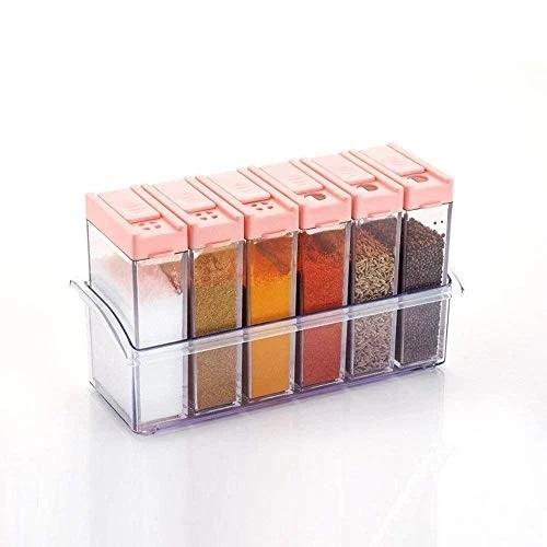 122 Plastic Spice Jars (6 pcs, 14x22x8cm, Multicolour)