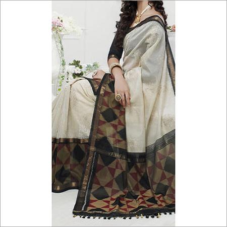 Cotsilk Ikkat Embroidery Saree