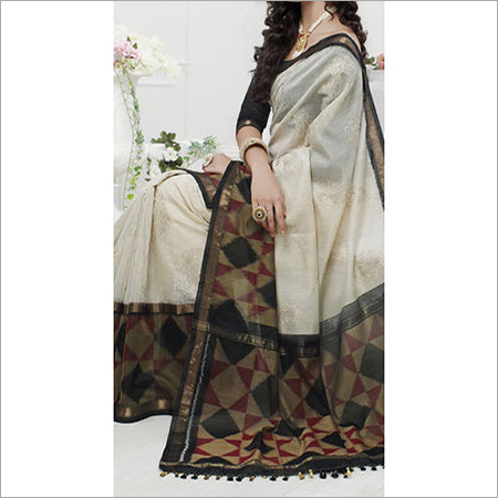 Cotsilk Ikkat Embroidery Saree