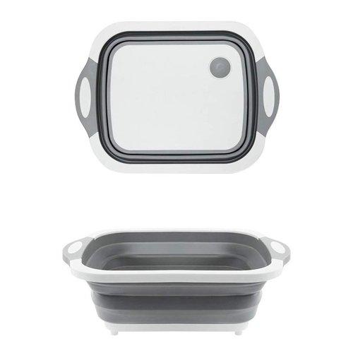 098 Foldable Chopping Board, Dish Rack, Washing Bowl & Draining Basket, 3in1 Multi-Function
