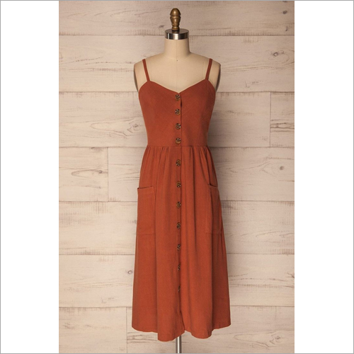 Ladies Sleeveless Cotton Gathered Dress