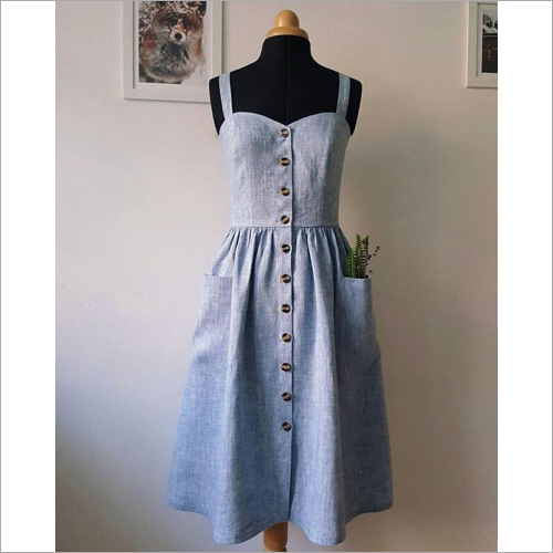 Ladies Cotton Gathered Dress