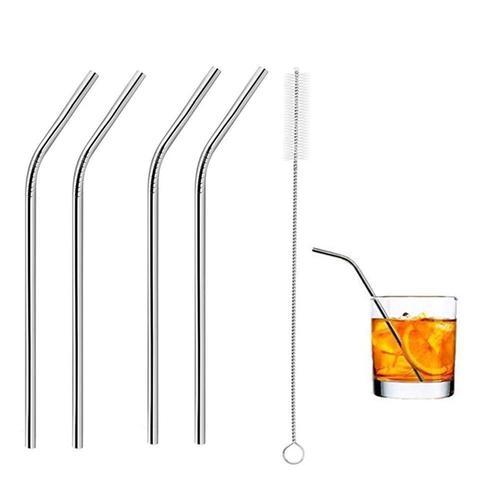 581 Stainless Steel Straws & Brush (4 Bent straws, 1 Brush) -5pcs