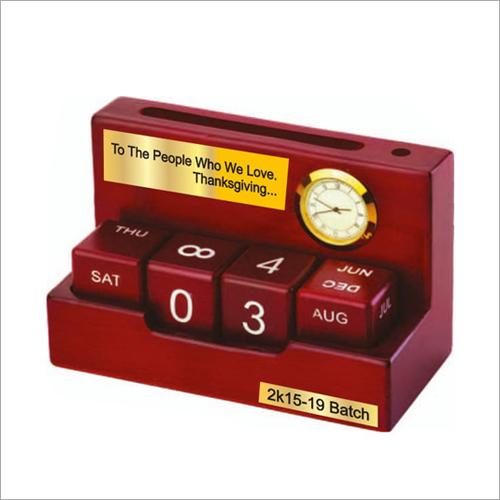 Wooden Calendar with Clock
