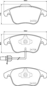 8DB 355 013-861 - Audi FR Brake Pad