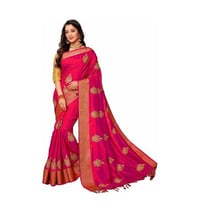 Embroidery Butta work and Jacquard Woven border saree in pink