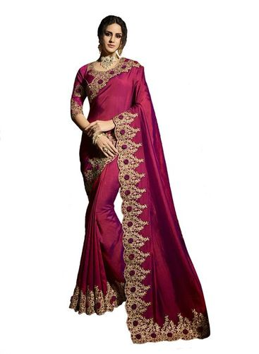 Simple embroidered border satin saree in dark pink