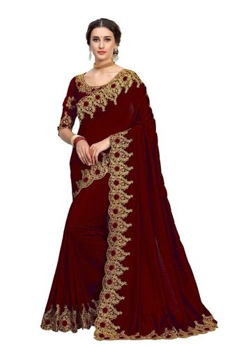 Satin Saree With Embroidered Blouse