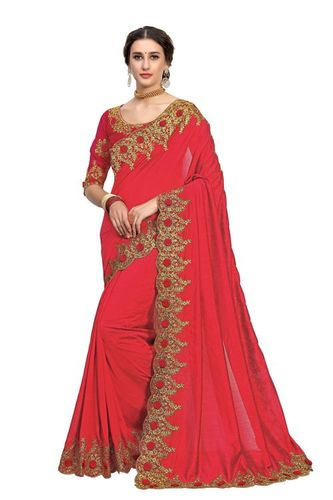 Simple embroidered border satin saree